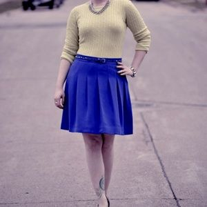 J. Crew Navy Blue Pleated Skirt
